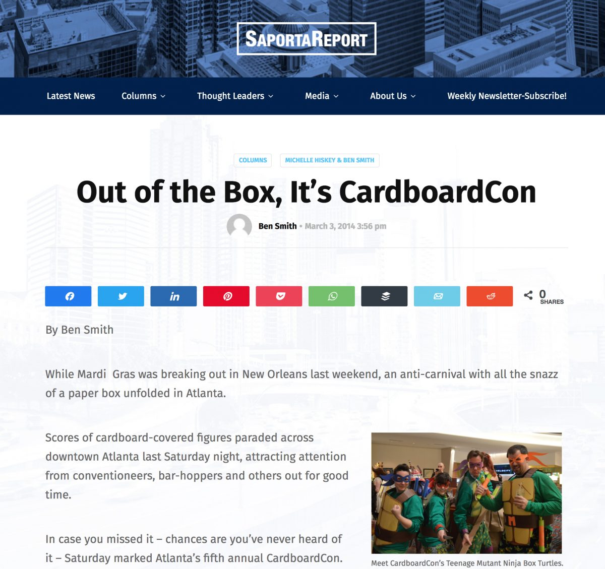 Writer Ben Smith brings readers of the Saporta Report to the glory of Cardboard*Con