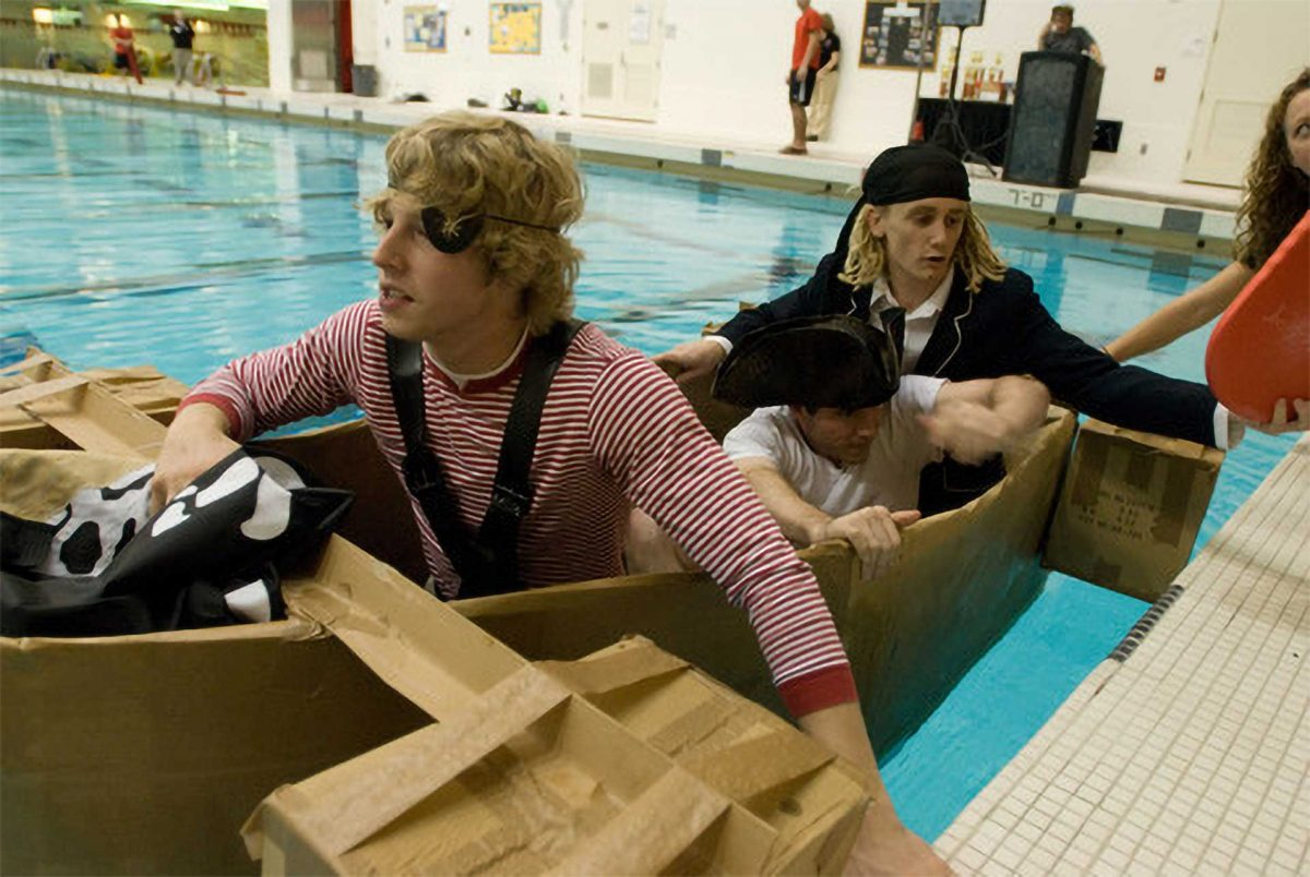 Pirates at the Head of the Zesiger Cardboard Boat Regatta